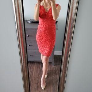 Tadashi Shoji Coral Red Lace Dress